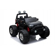 Ford Ranger Monster Truck 4X4, mașină electrică neagră, Telecomandă 2.4Ghz, Pornire lentă, intrare USB / Radio/SD/MP3 cu conectivitate Bluetooth, indicator capacitate baterie, roti uriașe EVA, suspensie, LED-uri, baterie