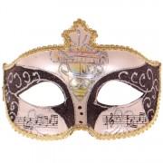 Venetiaans masker glitter zwart met goud