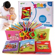 Baby Cloth Book Set Infant Intelligence Development Toy Bed Cognize Books Rattle - Pack of 6 for Kids Gift 3-48...