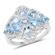 Inel din argint cu floare din topaz albastru