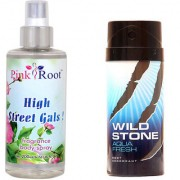 Wild Stone Aqua Fresh Body Deodorant 150ml and Pink Root High Street Gals Fragrance body Spray 200ml Pack of 2