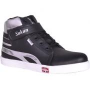 Sukun Black Silver Long Sneaker Casual Shoes