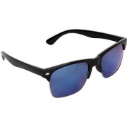 Zyaden Blue Mirrored Rectangular Sunglasses