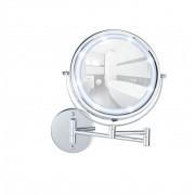 WENKO Power-Loc® LED Wandspiegel Lumi, 5-fach Vergrößerung, Befestigen ohne...