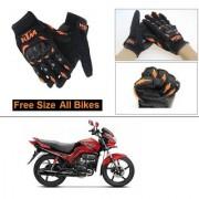 AutoStark Gloves KTM Bike Riding Gloves Orange and Black Riding Gloves Free Size For Hero Passion Xpro
