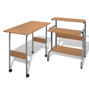 vidaXL 2 Piece Computer Desk with Pull-out Keyboard Tray Brown