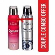 Mistpoffer Qrensce Perfumed Deodorant + Mistpoffer Fauve Perfumed Deodorant Body Spray Couple Combo Offer Pack of 2 for Men Women