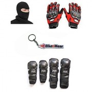 Combo Pack For Fox Knee Elbow Guard +Gloves Red-XL+Face Mask With Key Chain
