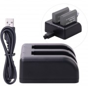 Dual Battery Charger Action Camera Battery Charger With USB Cable For Garmin VIRB Ultra 30 Camera