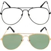 Debonair Retro Square Sunglasses(Green, Clear)