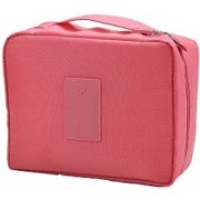 ROYALDEAL Portable Waterproof Multi Pouch Travel Toiletry Cosmetic Bag Makeup Case Storage Bag with Handle (PINK) VER.2(Pink)