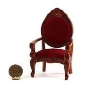 Dollhouse Miniature Vintage Look Red Velvet Cherry Wood Arm Chair