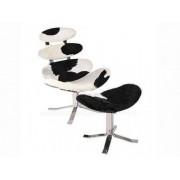 Design Town Fotel z podnóżkiem KORONA SKÓRA PONY - insp. proj. Corona Chair