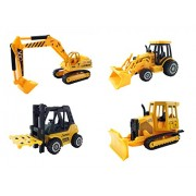 Set of 4 Construction Vehicles Diecast Metal Toy Playset [5 Inch] - Forklift