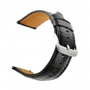 Crocodile Skin Genuine Leather Smart Watch Band for Samsung Gear S3 Classic/Frontier - Black