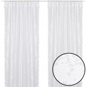 vidaXL 2 Net Curtains with Flowers 140 x 225 cm White