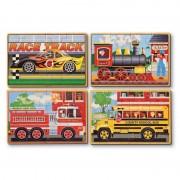 Set 4 puzzle lemn in cutie Vehicule Melissa Doug