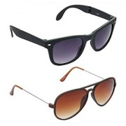 HRINKAR Men's Grey Mirrored Wayfarer Sunglasses