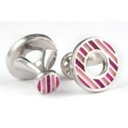 Mousie Bean Enamelled Cufflinks Polo Round 152 Tonal Pink