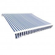 vidaXL Awning Top Sunshade Canvas Blue & White 3 x 2,5m (Frame Not Included)