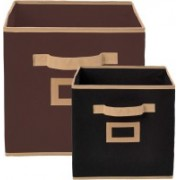 Billion Designer Non Woven 2 Pieces Small & Large Foldable Storage Organiser Cubes/Boxes (Black & Coffee) - CTKTC35313 CTLTC035313(Black & Coffee)