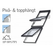 Velux Pivå & topphängt Alt Duo 100mm 78x140 vit everfinish 3-glas isoler -66 solo 2 profilerade tak