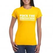 Shoppartners Fuck the dresscode dames T-shirt geel