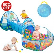 Kids Play Tent with Tunnel, Ball Pit Play House for Boys, Girls, Babies and Toddlers Indoor& Outdoor Playing(Balls Not Included)