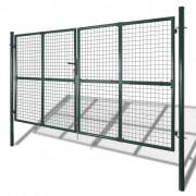 vidaXL Tuinpoort modern hekwerk 289 x 200 cm / 306 x 250 cm (donkergroen)