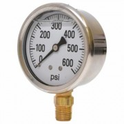 Valley Instrument 2 1/2Inch Stainless Steel Glycerin Gauge - 0-600 PSI