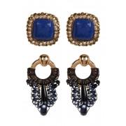 Free Press Fabric Beaded Frontal Drop Stud Earrings - Set of 2 BLUE MULTI-BLACK-GOLD
