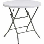 Flash Furniture Commercial-Grade Petite Round Plastic Folding Table - Granite White, 32Inch Diameter, Model DADYCZ80RGW