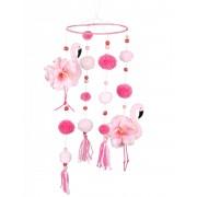 Deguisetoi Suspension flamant rose avec pompons roses 60 x 16 cm