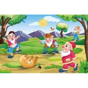 Walls and Murals Dwarves Playing With Lion Cub Kids Peel and Stick Wallpaper in Different Sizes (48 x 72)