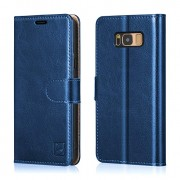 Belemay Samsung Galaxy S8 Plus Case, Genuine Cowhide Leather Wallet Case, Flip Folio Cover with Magnetic Closure, Kickstand, Card Holder Slots, Cash Pockets Compatible Samsung Galaxy S8 Plus, Blue