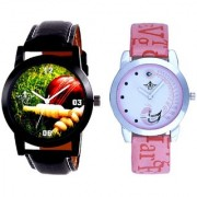 Best Cricket Design And Pink Peacock Couple Casual SCK Analogue Watch By Google Hub