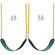 "2 Pack Jungle Gym Kingdom Swings Seats Heavy Duty 66"" Chain Plastic Coated - Playground Swing Set Accessories Replacement 