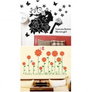 Set of 2 - WallTola Wall Stickers Rose Girl Black and Orange Flowers Border Wall Stickers