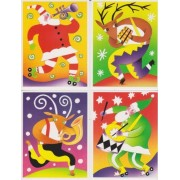 "4 Different 4 1/4"" X 5 1/2"" 2003 Usps Prepaid Postcards Depicting Santa Claus & Reindeer"