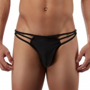 Male Power Nylon Spandex Straps & Rings G String Thong Underwear Black PAK-828