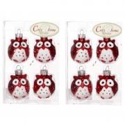Bellatio Decorations 2x Rode uilen kerstballen 4 stuks
