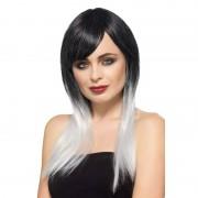 Smiffys Luxe zwart/grijze steile pruik voor dames