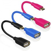 Eversame OTG Cable [3-Pack] 6 Inch PVC Micro USB Male to USB 2.0 Female Converter On-The-Go Adapter with Gold-Plated Connector For Sony Motorola Nokia(Black Blue Hot Pink)