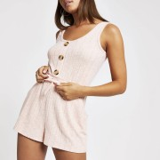 River Island Womens Pink ribbed pyjama playsuit (14)