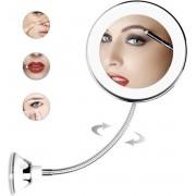 SouSou Beauty® Flexibele Make Up Spiegel Met Sterke Zuignap - LED verlichting - 360 graden Rotatie - 10 x Vergroting - Scheerspiegel