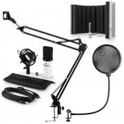 Auna auna MIC-900WH USB микрофон комплект кондензатор V5, поп филтър, абсорбиращ панел на микрофона, рамо за микрофон бял цвят (60001969-V5)