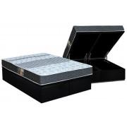 Conjunto Box Baú - Colchão Castor Molas Bonnel Class Slim + Cama Box Baú Nobuck Nerto Black - Conjunto Box Queen Size - 158 x 198