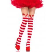 Collants as riscas brancas e vermelhas mulher Natal