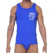 Leader Barcelona Luxury Crest Tank Top T Shirt Blue