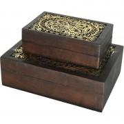 Decoris 2x Sieradenkistje/sieradenbox bruin/goud van hout